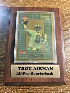 TROY AIKMAN Brown Wooden Plaque with 1993 Edge F/X GOLD Card #12 Dallas Cowboys