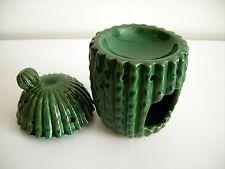 Dark Green Glazed Ceramic Cactus Design Oil Burner