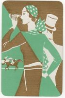 Playing Cards 1 Single Card Old Art Deco HORSE RACING Lady GIRL Top Hat Man 1