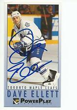 DAVE ELLETT Autographed Signed 1993-94 Power Play card Toronto Maple Leafs COA