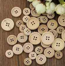 50Pcs/Lot Mixed Wooden Buttons Natural Color Round 4-Holes Sewing Scrapbooking