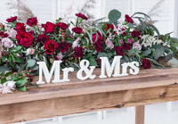 Mr & Mrs Table Sign - Free Standing Wedding Letters - White Top Table Decoration