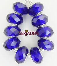 10 Piece Royal Blue Faceted Beads Fits European Jewelry 9 * 14 & 5 mm Hole B025