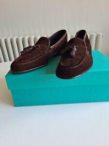 "Edward Green ""Portland"" Brown Suede Tassel Loafer Shoes, UK 8, E fit, BNIB"