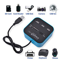 USB 2.0 Hub Combo All In One Multi Card Reader w/ 3 Port For MMC / M2 / MS/ SD