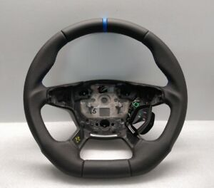 FORD FOCUS mk3 STEERING WHEEL FLAT NEW LEATHER + BLUE BAND 2011+ C-MAX