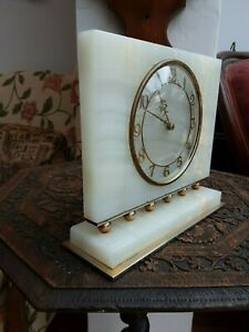 vintage rotherhams 8 day onyx mantle clock in gwo