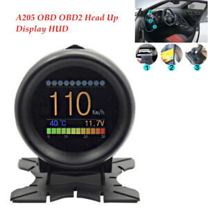 A205 OBD OBD2 Head Up LCD Display HUD Car Digital Temperature Gauge Data Scan