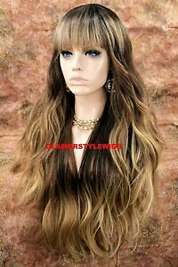 HUMAN HAIR BLEND FULL WIG LONG WAVY LAYERED BANGS OMBRE BROWN GOLDEN BLONDE NWT