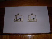 Pair Of American Flyer Caboose Brass Fences Or End Rail Parts With Brake Wheels