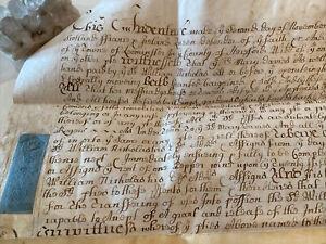 1704 Antique British & Irish Document with Wax & Ink Seals ~ Reign of Lady Anne