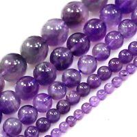 "Natural Gemstone Purple Amethyst Round Beads 15"" 4 6 8 10 12mm Free Shipping"
