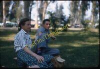 Pretty Woman Smoking Cigarette Candid 1950s 35mm Slide Red Border Kodachrome