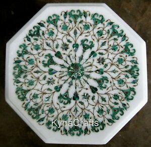 15 x 15  Inches Marble Side Table Top with Malachite Stone Inlaid Coffee Table