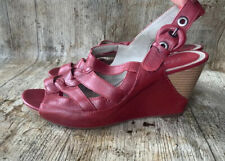 WOMENS SHOES HEELS LOW MID High CLARKS Leather UK 6 39 RED WEDGES SANDALS