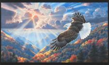 Patriots Digital Panel-American-Eagle Flying-Robert Kaufman-Mountains-Sun
