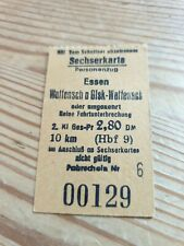 Deutsche Bahn Alte Sechserkarte von Essen nach Wattenscheid 2.80 DM