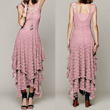 Women Boho Irregular Lace Double Layered Trimming Dress Party Cocktail Dress