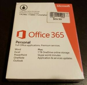BRAND NEW Microsoft Office 365 Personal PC or Mac + 1 tablet + 1 smartphone
