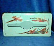 Vintage Black Tole ware Metal Kleenex Tissue Box Holder PHEASANT Hand Painted 😏