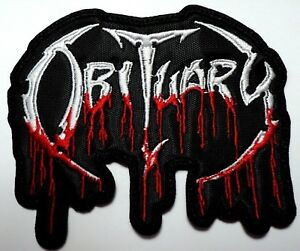 OBITUARY SHAPED EMBROIDERED PATCH