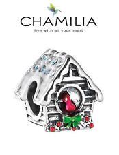 NUOVO CON SCATOLA Chamilia 925 ARGENTO & SWAROVSKI Birdhouse Natale Charm Bead