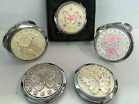Personalised Butterfly Silver Plated Handbag Mirror / Compact  engraved free,