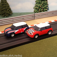 Micro Scalextric Pair Of 1:64 Cars - Mini Union Jack & Chequered Bonnet