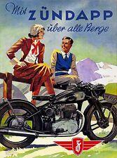 1938 Nuremberg Germany Zundapp Motorcycle Vintage Travel Advertisement Poster