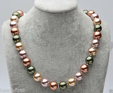 12mm Mix Color Genuine South Sea Shell Pearl Round Beads Necklace 18'' AAA+