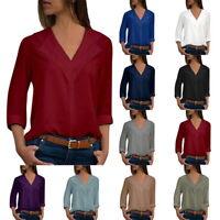Fashion Womens V-neck Long Sleeve Blouse Casual Loose Chiffon Shirt Tops T-Shirt