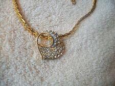 NOLAN MILLER Necklace & Austrian Crystal HEART SLIDER Pendant Goldtone FOR MOM