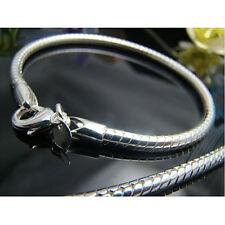 Solid 925 Silver 4MM Vivid Snake Bone Men Women Bracelet Chain 8inch HY159