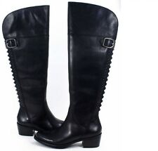 Vince Camuto Bollo Black Calf Vintage Leather Buckle Knee High Boots 6.5