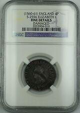 (1560-61) England Silver Groat 4P Coin S-2556 Elizabeth I NGC F Det. Damaged AKR