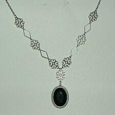 Lacy Filigrana Stile Vittoriano Nero Acrilico Scuro Collana con pendente placcato argento