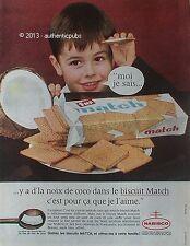 PUBLICITE MATCH BISCUITS A LA NOIX DE COCO NABISCO LAIT GOUTER DE 1962 FRENCH AD