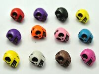 100 Mixed Color Acrylic Halloween Gothic Skull Beads 10X8mm