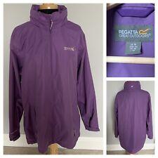 REGATTA Ladies Jacket Purple Waterproof HYDRAFORT Coat Jacket with Hood UK 18