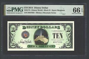 Disney Dollar 10 $  2014 DIS173 Stitch Block D Uncirculated Grade 66