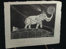 SIGNED WOOD ENGRAVING OF ELEPHANT HOLDING A BALL~USMC 86 NAIMAN~HALLEY'S COMET?