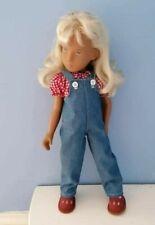 BJB Vintage Sasha doll clothes, Blue denim dungarees coveralls + gingham blouse