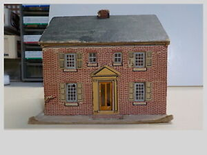 HO Vintage 1950's Built Cardboard 2 Story Brick Colonial House