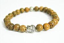 Buddha Holz Armband Bracelet Antik Silber Holzoptik Fashion Vintage Mode Ethno