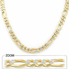 "Yellow White Pave Men Figaro Necklace Chain 8.00mm 22"" 58.00 gm Solid 14k Gold"