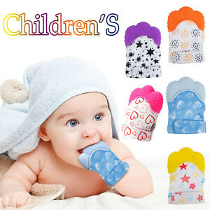 Silicone Baby Teething Mitt Teether Mitten Glove Safe BPA Chew Dummy Toy