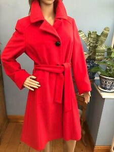 Made in Italy Gill Me Red Wool Cashmere Blend Coat with Belt Size M