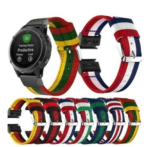 For Garmin Fenix 5X 26mm Woven Nylon Band Sport Strap World National Flag Stripe