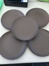 "Set Of 5 Ikea Brown 8 3/4"" Plate Ceramic Pattern Number 219 63"