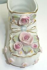 Pink & Blue Napco Vintage Baby Shoe Planter-Bone China Roses-Original Sticker